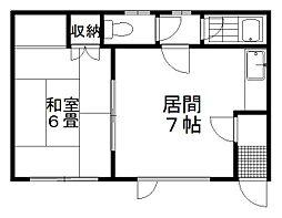 第2新川アパート 1階1DKの間取り