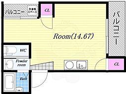 K-styre大阪港 3階ワンルームの間取り