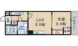 キャメロット北堀江[5階]の間取り