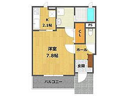 兵庫県西宮市広田町の賃貸アパートの間取り