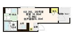 東京都足立区中央本町3丁目の賃貸アパートの間取り