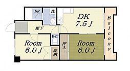 富士プラザ2中央[603号室]の間取り
