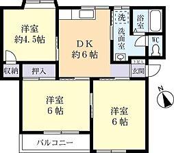 茨城県常総市水海道山田町の賃貸アパートの間取り