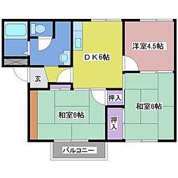 兵庫県神戸市西区王塚台2丁目の賃貸アパートの間取り