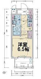 レシオス大阪城公園 8階1Kの間取り