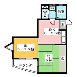 エスカイア三俣A[5階]の間取り