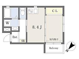 氷川台YKマンション 4階ワンルームの間取り
