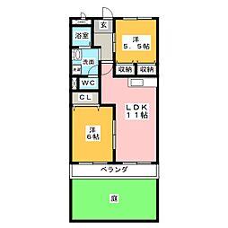シャトー原市[1階]の間取り