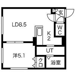 ルーク南8条[5階]の間取り