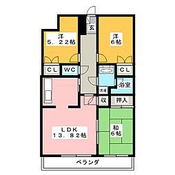 シャルム高崎・倉賀野[6階]の間取り