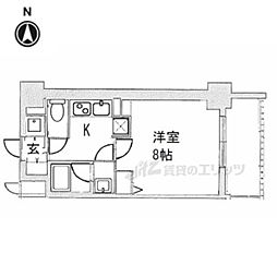 ベラジオ京都西院ウエストシティIII406 4階1Kの間取り