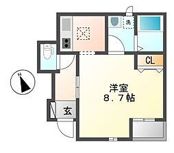 愛知県名古屋市中川区尾頭橋3の賃貸アパートの間取り