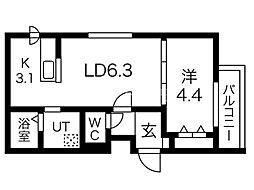 メニーズコート東屯田通 3階1LDKの間取り
