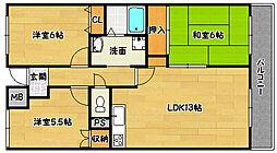 兵庫県神戸市北区鈴蘭台南町5丁目の賃貸マンションの間取り