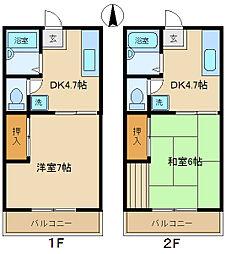 ブルーベルハウスA・B[A202号室]の間取り