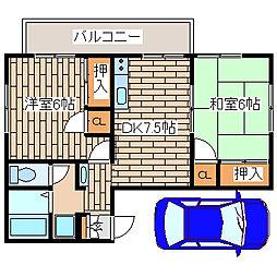 兵庫県神戸市須磨区多井畑筋替道の賃貸アパートの間取り