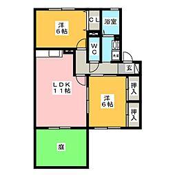 グリーンコート21 B[2階]の間取り