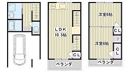 [一戸建] 大阪府大阪市鶴見区中茶屋2丁目 の賃貸【/】の間取り