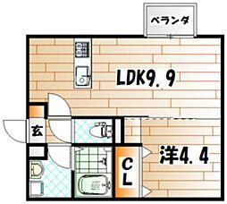 福岡県北九州市小倉南区朽網西5丁目の賃貸アパートの間取り
