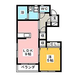 シェモア・K 1階1LDKの間取り