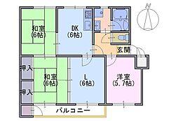 竹の台団地D2棟 502号室[502号室]の間取り