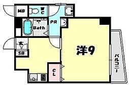 アクアプレイス新神戸駅前 6階1Kの間取り