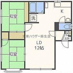 北海道札幌市北区北三十一条西13丁目の賃貸アパートの間取り