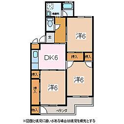 長野県松本市宮渕2丁目の賃貸マンションの間取り