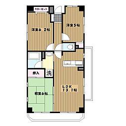 神奈川県横浜市緑区白山の賃貸マンションの間取り