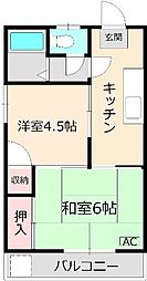 東新コーポ西小岩 京成小岩駅徒歩4分 JR小岩駅徒歩15分[2階]の間取り