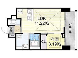 ノルデンタワー江坂プレミアム 19階1LDKの間取り