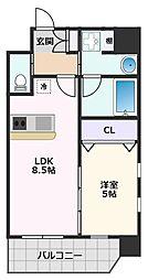 プレジオ江坂II 8階1LDKの間取り