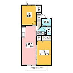 セジュール芝 D棟[2階]の間取り