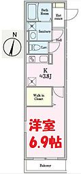 JR京浜東北・根岸線 根岸駅 徒歩7分の賃貸アパート 2階1Kの間取り