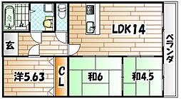ベルソネール日吉台[8階]の間取り