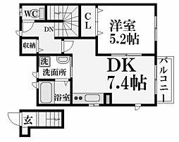 兵庫県西宮市市庭町の賃貸アパートの間取り