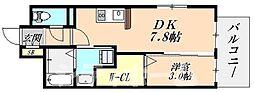JR阪和線 長居駅 徒歩7分の賃貸マンション 3階1DKの間取り