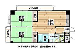 福岡県北九州市小倉北区篠崎1丁目の賃貸マンションの間取り