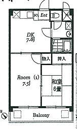 サンライズマンションA棟[403号室]の間取り