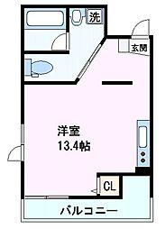 阪神本線 芦屋駅 徒歩2分の賃貸マンション 2階ワンルームの間取り