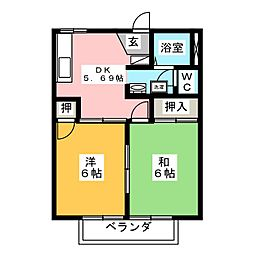 フレグランス金屋 B棟[2階]の間取り