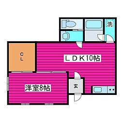 北海道石狩市花川南三条5丁目の賃貸アパートの間取り