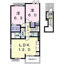 埼玉県春日部市六軒町の賃貸アパートの間取り