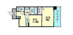 エステムコート京都西大路 5階1DKの間取り