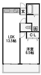 メロディハイム新大阪[606号室]の間取り