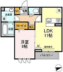 広島県福山市新涯町6の賃貸アパートの間取り