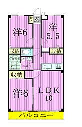 千葉県鎌ケ谷市北初富の賃貸マンションの間取り