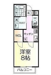 仙台市営南北線 北四番丁駅 徒歩3分の賃貸マンション 2階1Kの間取り