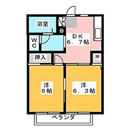 グリーンハイツ喜多山A棟[2階]の間取り