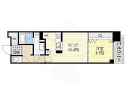 名古屋市営名城線 久屋大通駅 徒歩5分の賃貸マンション 6階1LDKの間取り